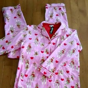 PJ Salvage Sock Monkey Valentine's Day PJ Set